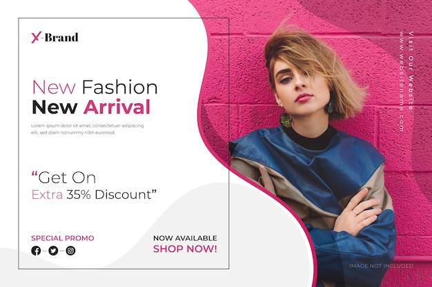 Banner di vendita di nuovi arrivi di moda