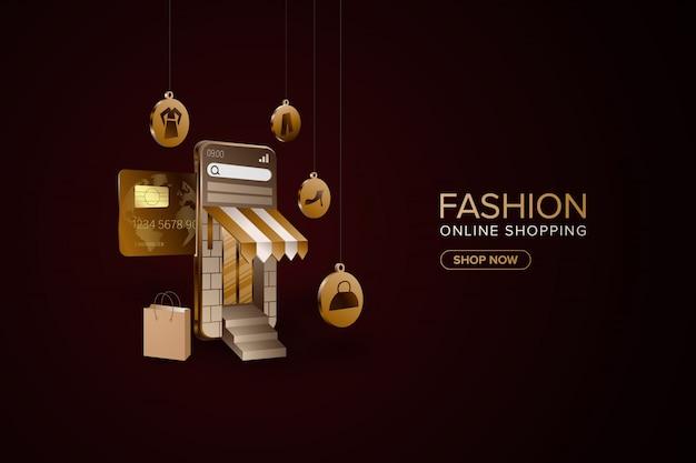 Shopping online di moda con sfondo di smartphone