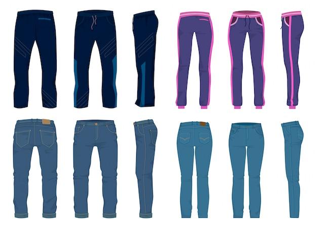 Icona stabilita del fumetto isolata pantaloni di modo. cartone animato set icona jean. pantaloni di moda illustrazione su sfondo bianco.