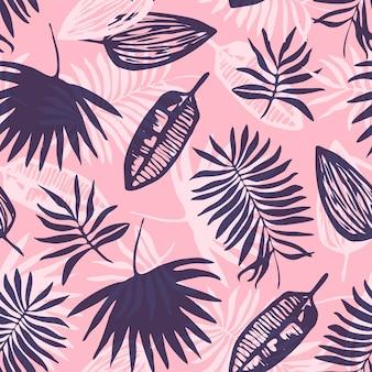 Motivo tropicale rosa alla moda con foglie blu