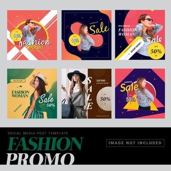 Modello di post social media promo di moda Vettore Premium