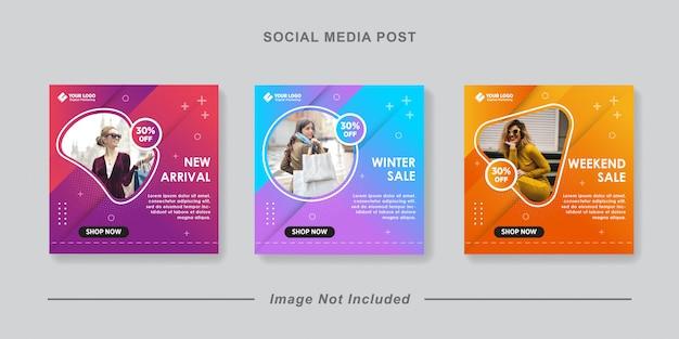 Collezione di banner di vendita di moda o volantino quadrato per modello di post di social media