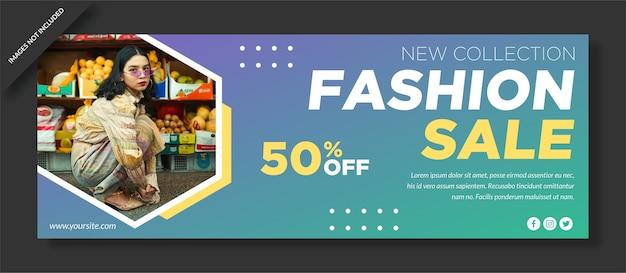 Progettazione di social media banner di vendita di moda