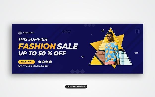 Banner di vendita di moda per la copertina di facebook dei social media e la pubblicità sul web vettore premium