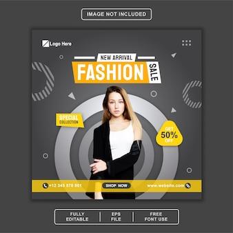 Banner di vendita di moda social media post instagram facebook template