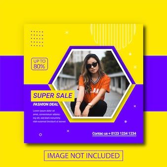 Banner di vendita di moda per post sui social media