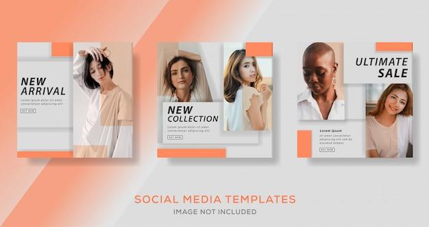Modello di banner di vendita di moda per post sui social media.