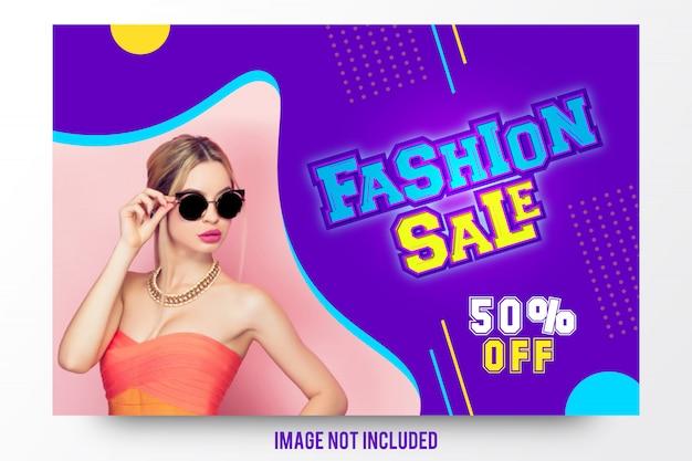 Modello dell'insegna di promozione di sconto di vendita di moda