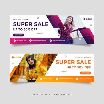 Modello di progettazione dell'annuncio di banner di copertina di facebook di vendita di moda