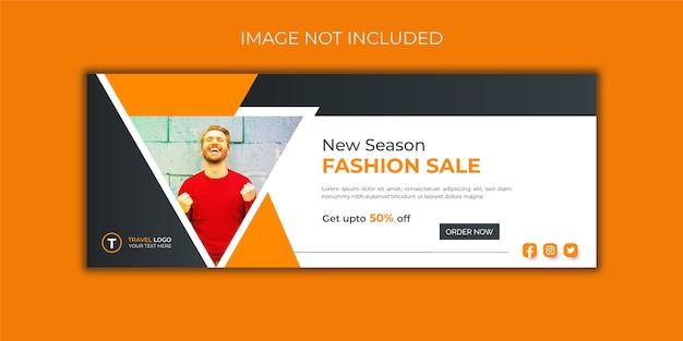 Modello di banner copertina facebook di vendita di moda Vettore Premium