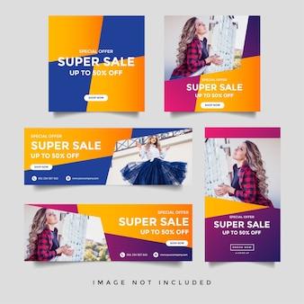 Modello di banner di storie di social media e storie di instagram di vendita di moda