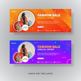 Banner di post sui social media per la copertina di facebook di vendita di moda