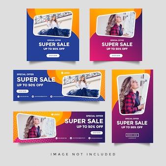 Vendita di moda copertina facebook e modello quadrato banner