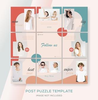 Vendita di moda per modello di banner puzzle feed instagram