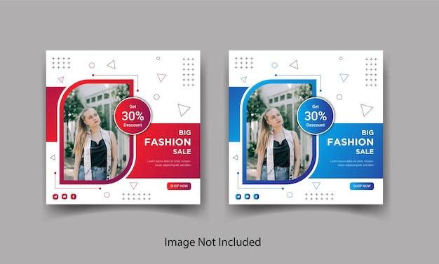 Banner di post sui social media di instagram di vendita di moda