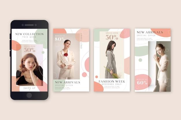 Storie di instagram di vendita di moda