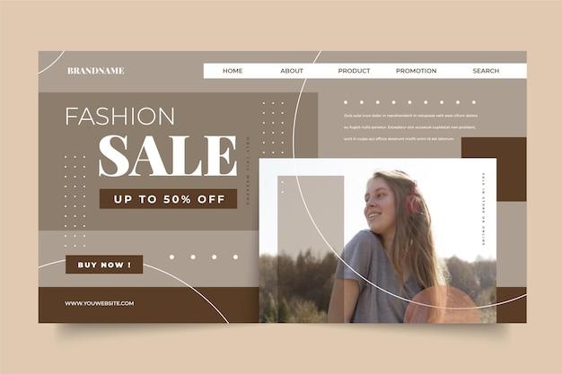 Concetto di pagina di destinazione di vendita di moda