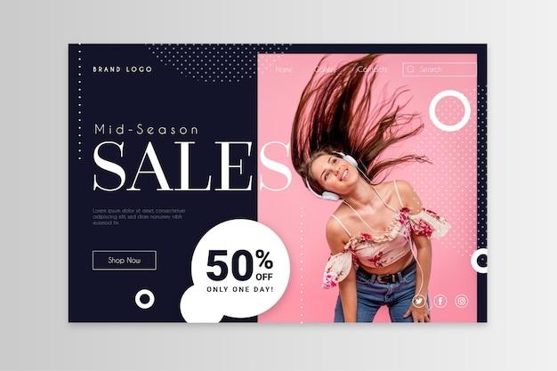 Modello di pagina di destinazione di vendita di moda