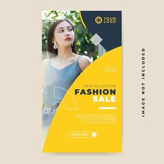 Vendita di moda nuova collezione di post sui social media, modello instastory Vettore Premium