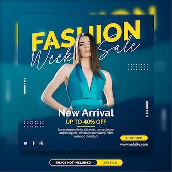 Modello di banner post instagram promozionale di vendita di moda