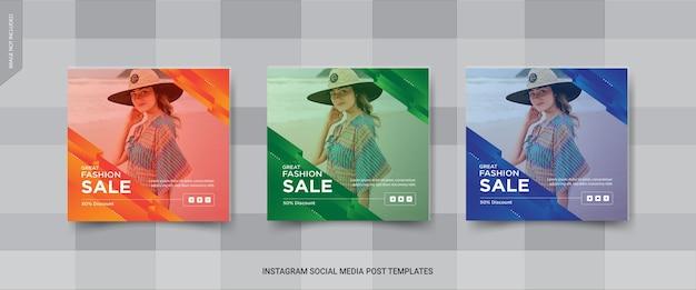 Insieme di modelli di post medai sociale di vendita di moda