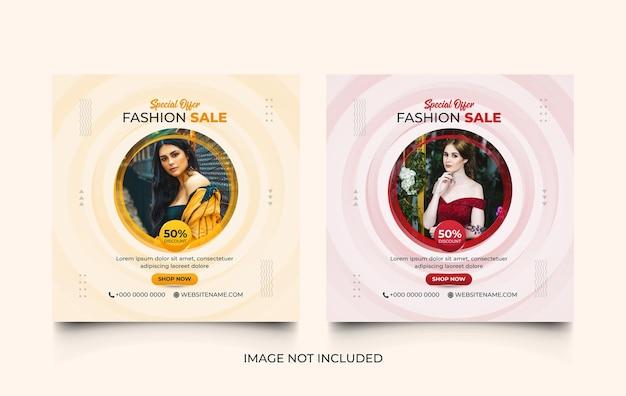 Insieme di modelli di post promozione instagram di social media di vendita di moda
