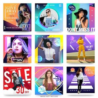 Modello di progettazione moderna di media sociali di vendita di moda