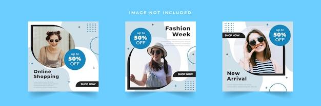 Raccolta di modelli di post sui social media di vendita di moda