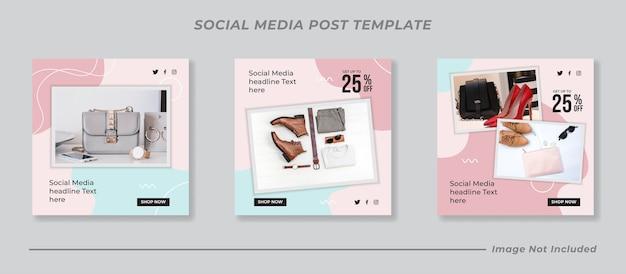 Set di modelli di post sui social media di vendita di moda