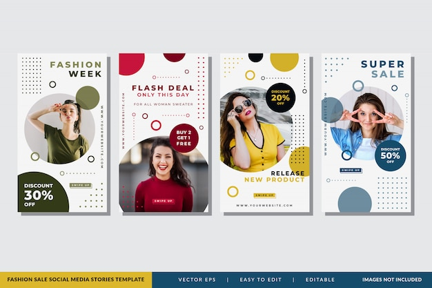 Modello di storie di social media di vendita di moda