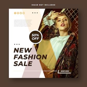 Post sui social media con banner quadrato di vendita di moda