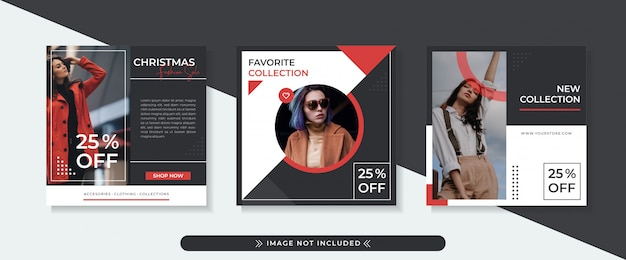 Modello di bandiera quadrata di vendita di moda con design nero e rosso, layout stile moderno ed elegante.