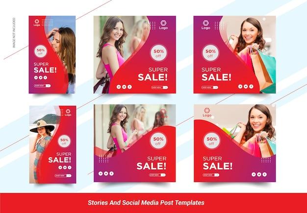 Banner sui social media di storie di vendita di moda