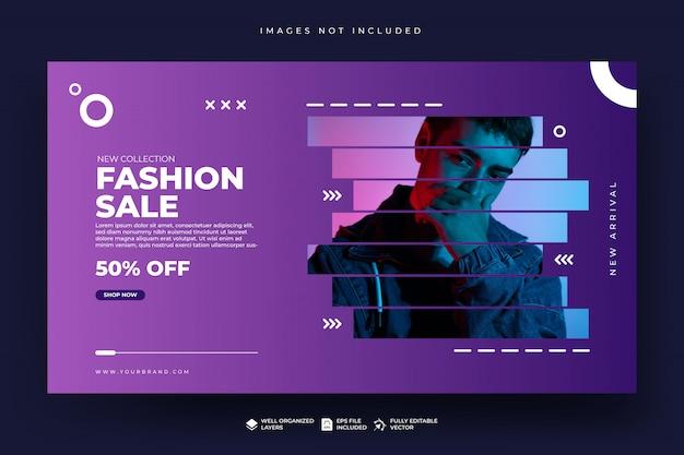 Modello di banner web di vendita di moda