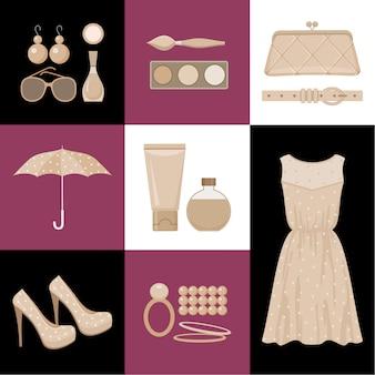 La moda ha un design piatto in stile.