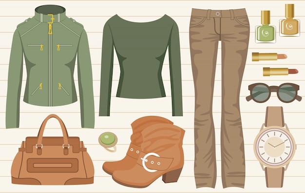 Moda set con jeans e una giacca