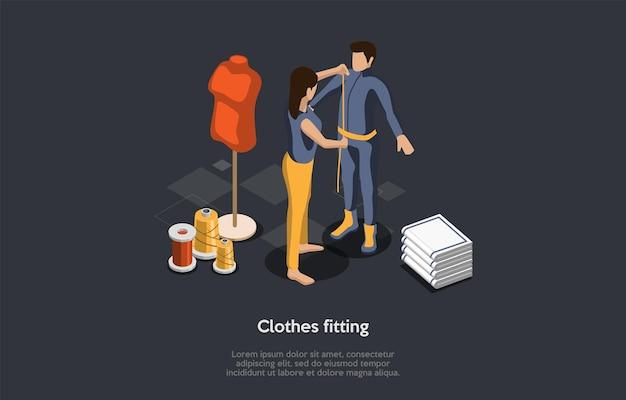 Concetto di moda, cucito e montaggio. stand di donna di fronte a un uomo che prende le misurazioni con nastro di misurazione. grandi bobine di filo sotto il manichino. colorful 3d isometrico illustrazione vettoriale.