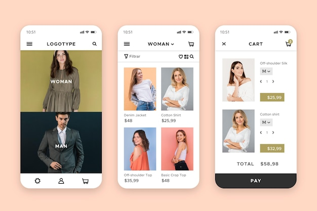 Interfaccia dell'app per lo shopping di moda