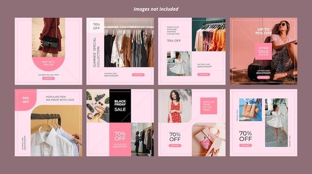 Modello di banner per social media di moda