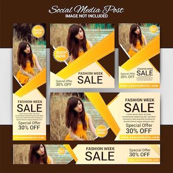 Fashion social media marketing set