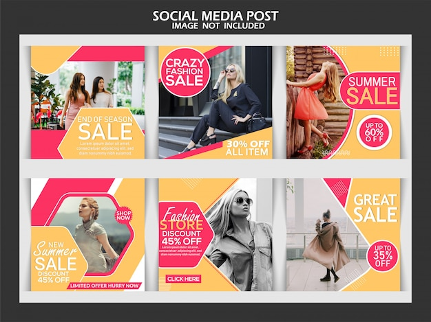 Modello di modello post moda social media