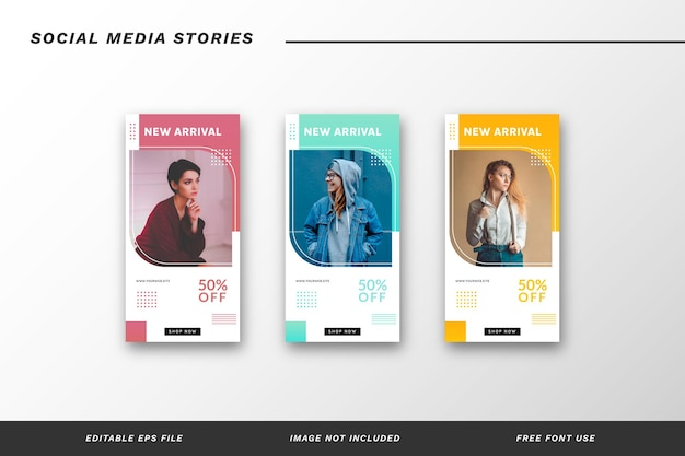 Insieme di modelli di storie di social media di moda
