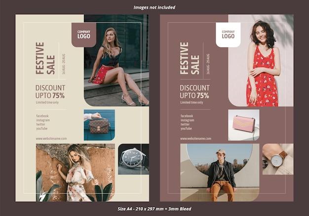 Modello di volantino a4 vettoriale di vendita di negozio di moda