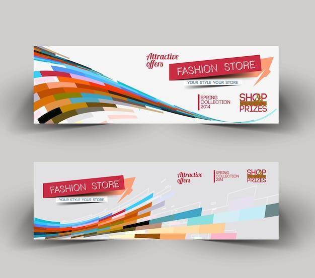 Modello di layout dell'intestazione del banner web del negozio di moda