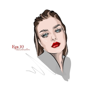 Moda e stile schizzo volto di donna con labbra rosse luminose