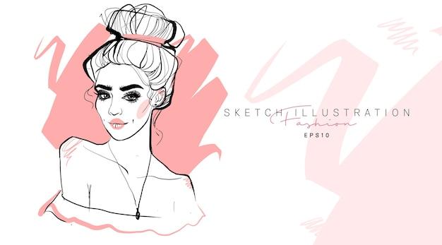 Schizzo disegnato a mano di moda ragazza alla moda