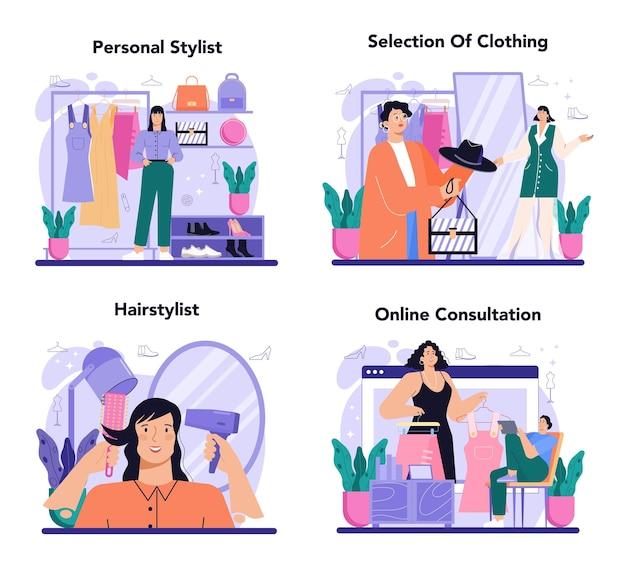Il concetto di stilista di moda ha impostato la moda professionale del lavoro creativo moderno