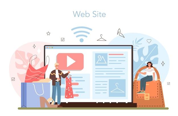 Servizio o piattaforma online per stilisti di moda. lavoro moderno e creativo