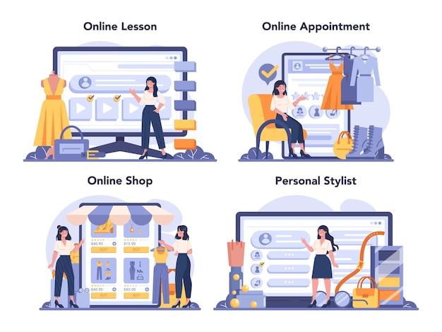Servizio online di stilista di moda o set di piattaforme