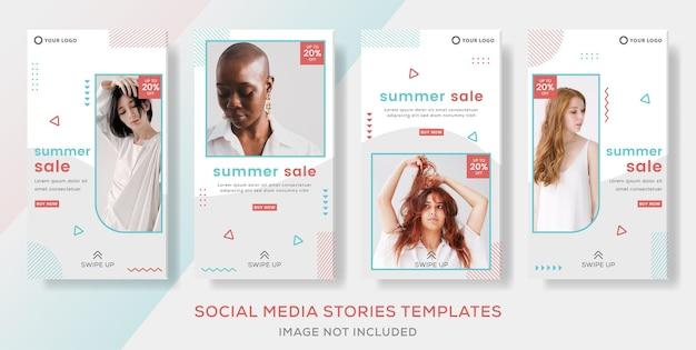 Banner estivo di moda per storie di modelli social media post premium vector